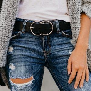 Accessories - Vegan Leather Double Buckle Belt - Black